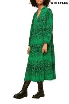 Whistles Animal Print Enora V Neck Midi Dress