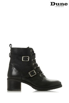 Dune London Paxtone Black Leather Buckle Detail Ankle Boots