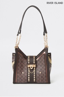 River Island Brown V Front Pinched Underarm Bag