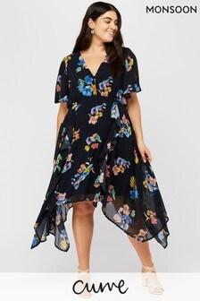 Monsoon Blue Wendy Hanky Hem Curve Dress