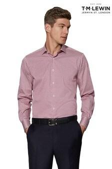 T.M. Lewin Red Pine Print Slim Fit Single Cuff Shirt