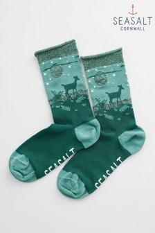 Seasalt Green Snowy Scenes Socks