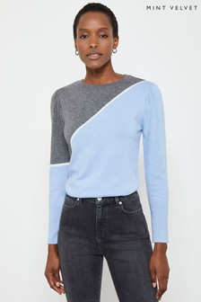 Mint Velvet Asymmetric Blocked Easy Jumper