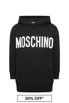 Moschino Kids Black Cotton Logo Hoodie
