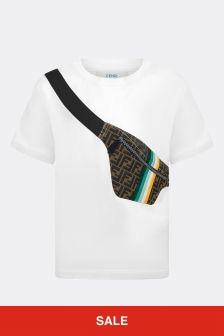 Fendi Kids Boys White Cotton T-Shirt