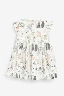 Character Print Dress And Cardigan Set