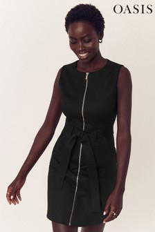Oasis Black Utility Shift Dress