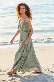 Frill Jacquard Strappy Dress