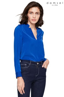 Damsel In A Dress Blue Hailey V-Neck Blouse
