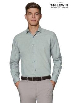 T.M. Lewin Light Grey Textured Slim Fit Single Cuff Shirt