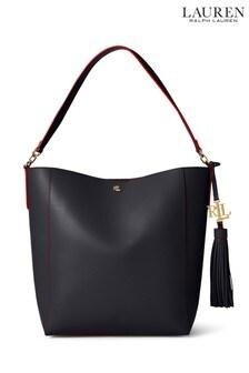 Lauren Ralph Lauren® Navy Leather Adley Tote Bag