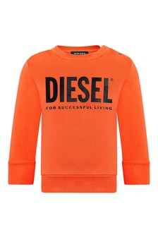Diesel Baby Boys Orange Cotton Sweat Top