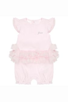 Guess Baby Girls Pink Cotton Shortie Romper