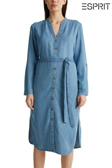 Esprit Blue Denim Belted Midi Dress