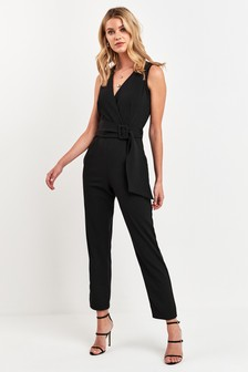 Wrap Front Buckle Detail Jumpsuit