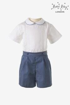 Rachel Riley White Shirt And Navy Stripe Short Set