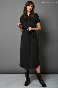 Mint Velvet Black Belted Midi Shirt Dress