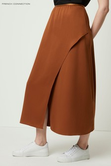 French Connection Brown Alessia Satin Midi Skirt