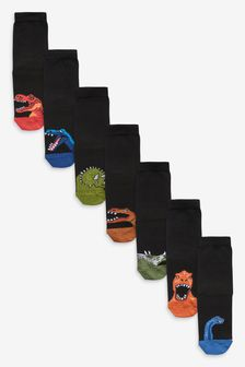 7 Pack Cotton Rich Muted Dino Socks