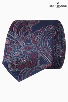 Jeff Banks Blue Intricate Paisley Design Silk Tie