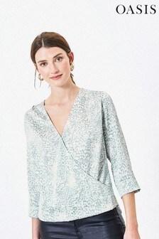 Oasis Green Brushed Animal Wrap Shirt
