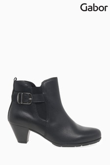 Gabor Black Tamarind Womens Modern Leather Ankle Boots
