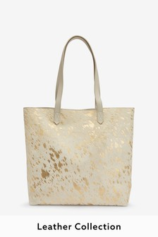 Metallic Leather Cow Hide Shopper Bag