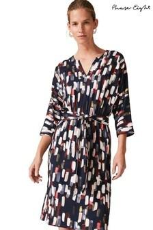 Phase Eight Blue Jinny Smudge Print Dress
