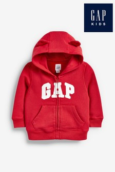 Czerwona bluza z kapturem i logo Gap