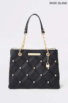 River Island Black Studded Tote Bag