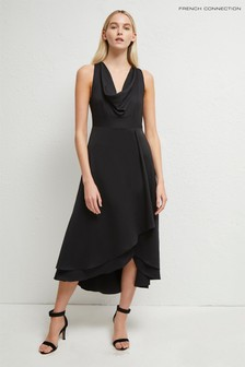 French Connection Black Alessia Satin Cowl Neck Dress