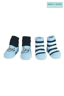 aden + anais Blue Elephant Stripe Cozy Booties Two Pack Gift Set