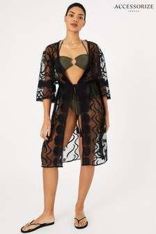 Accessorize Black Lace Kimono