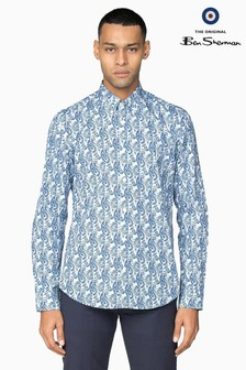 Ben Sherman Main Line Blue Linear Paisley Shirt