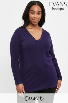 Evans Curve Purple V-Neck Jumper