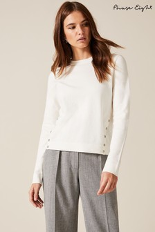 Phase Eight Cream Bella Button Detail Knitted Top