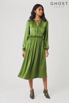 Ghost London Green Juliette Forest Satin Dress