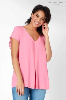 Live Unlimited Soft Pink Pleat Front Top
