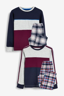 2 Pack Blush Check Pyjamas (3-16yrs)
