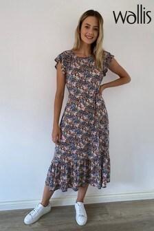 Wallis Petite Black Ditsy Jersey Midi Dress