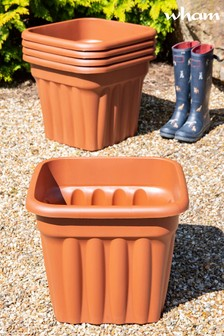 Set of 5 Vista 49cm Square Garden Planters by Wham