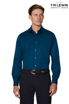 T.M. Lewin Slim Fit Navy Single Cuff Shirt With Liberty