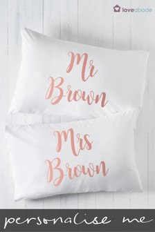 Personalised Mr & Mrs Pillowcases by Loveabode