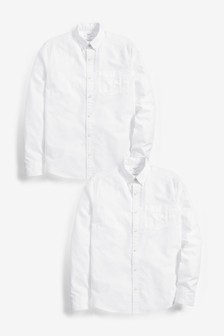 Regular Fit Long Sleeve Oxford Shirts Two Pack