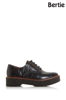 Bertie Federo Black Croc Print Leather Textured Lace-Up Shoes