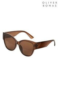 Oliver Bonas Brown Cat Eye Sunglasses
