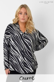 Live Unlimited Curve Zebra Print Over The Head Blouse