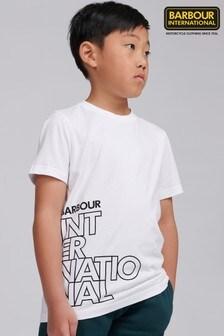 Barbour® International Boys White Outline Logo T-Shirt