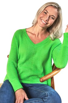 Pure Collection Green Gassato Cashmere Textured V-Neck Sweater