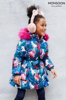 Monsoon Blue Unicorn Ruffle Padded Coat
